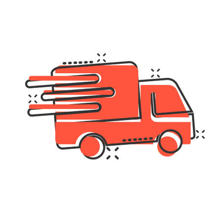 Delivery truck icon in comic style. Van cartoon vector illustration on white isolated background. Cargo car splash effect business concept.