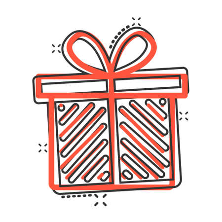 Gift box icon in comic style. Present package cartoon vector illustration on white isolated background. Surprise splash effect business concept.