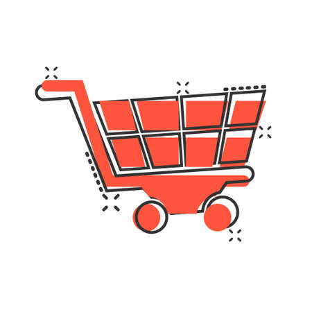 Shopping cart icon in comic style. Trolley cartoon vector illustration on white isolated background. Basket splash effect business concept.
