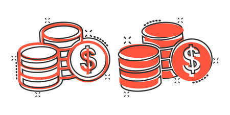 Coins stack icon in comic style. Dollar coin cartoon vector illustration on white isolated background. Money stacked splash effect business concept. Illusztráció