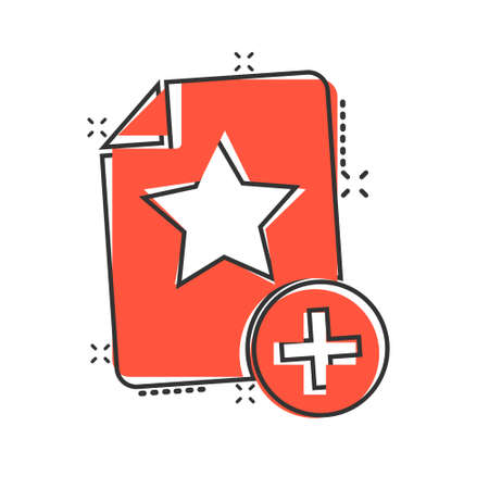 Document with star icon in comic style. Wish list cartoon vector illustration on white isolated background. Favorite purchase splash effect business concept.