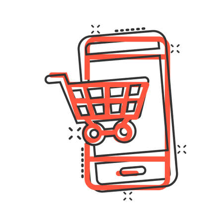 Online shopping icon in comic style. Smartphone store cartoon vector illustration on white isolated background. Market splash effect business concept. Illusztráció