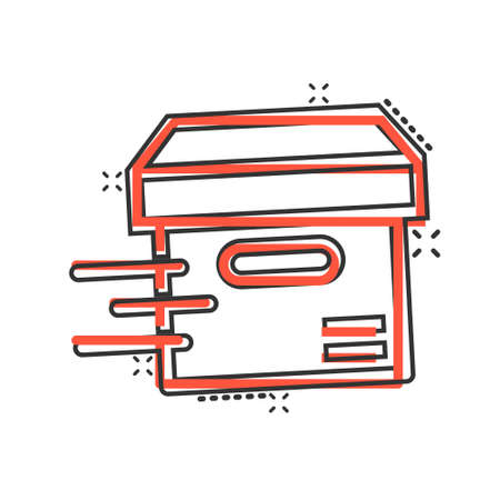 Shipping box icon in comic style. Container cartoon vector illustration on white isolated background. Cardboard package splash effect business concept.