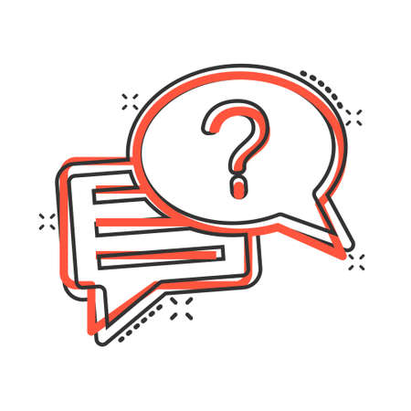 Question mark icon in comic style. Discussion speech bubble cartoon vector illustration on white isolated background. Faq splash effect business concept. Illusztráció