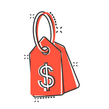 Price tag icon in comic style. Label cartoon vector illustration on white isolated background. Sale coupon splash effect business concept.