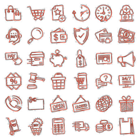 Shopping icon set in comic style. Online commerce cartoon vector illustration on white isolated background. Market store splash effect business concept.