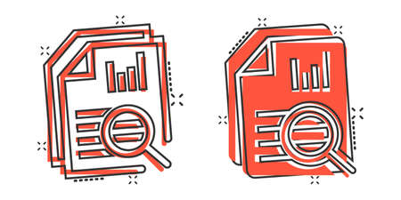 Financial statement icon in comic style. Result cartoon vector illustration on white isolated background. Report splash effect business concept. 向量圖像