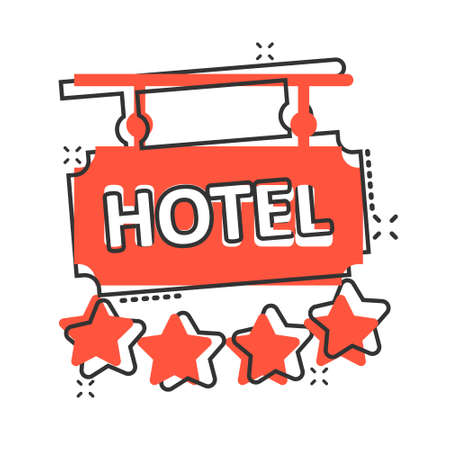 Hotel 4 stars sign icon in comic style. Inn cartoon vector illustration on white isolated background. Hostel room information splash effect business concept.