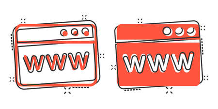 Website domain icon in comic style. Com internet address cartoon vector illustration on white isolated background. Server splash effect business concept.
