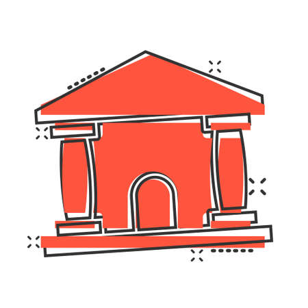 Bank building icon in comic style. Government architecture cartoon vector illustration on white background. Museum exterior splash effect business concept.