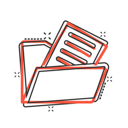 File folder icon in comic style. Documents archive cartoon vector illustration on isolated background. Storage splash effect business concept.