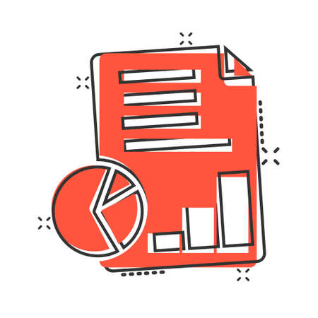 Financial statement icon in comic style. Document cartoon vector illustration on white isolated background. Report splash effect business concept. 向量圖像