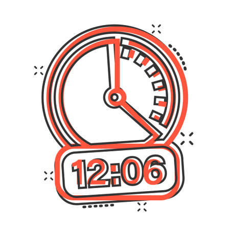 Clock icon in comic style. Watch cartoon vector illustration on white isolated background. Timer splash effect business concept.