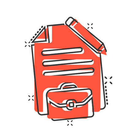 Document note with pen icon in comic style. Paper sheet pencil and briefcase cartoon vector illustration on white background. Notepad document splash effect business concept. Иллюстрация