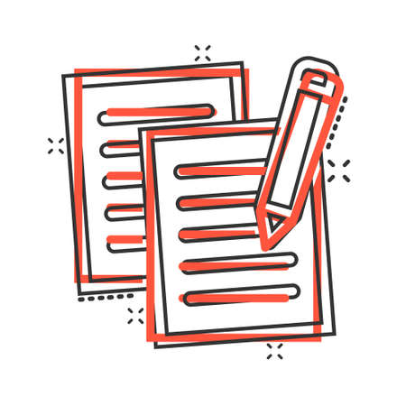 Document note with pen icon in comic style. Paper sheet pencil cartoon vector illustration on white background. Notepad document splash effect business concept. Иллюстрация