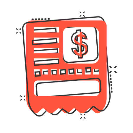 Money check icon in comic style. Checkbook cartoon vector illustration on white isolated background. Finance voucher splash effect business concept.