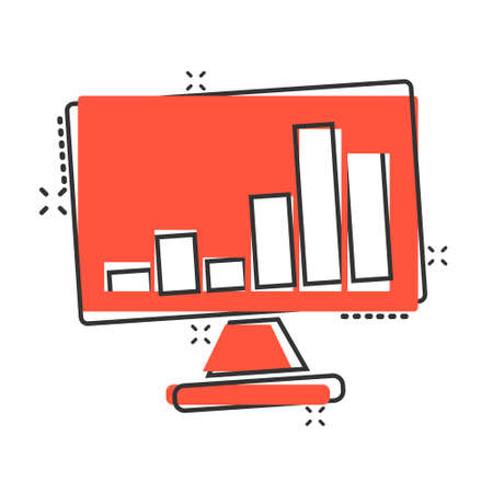 Website analytics icon in comic style. SEO data cartoon vector illustration on white isolated background. Computer diagram splash effect business concept. Иллюстрация