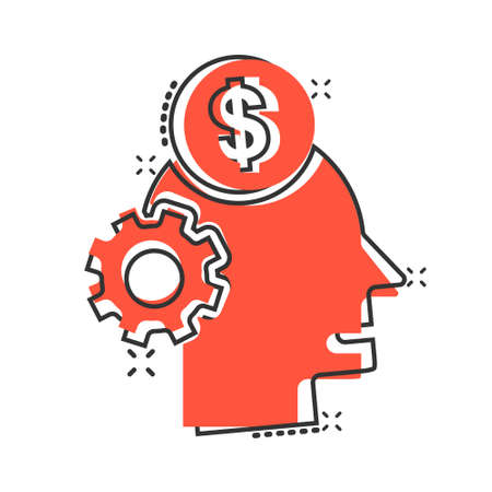Human head with money icon in comic style. Career progress cartoon vector illustration on white isolated background. Face and dollar coin splash effect business concept.