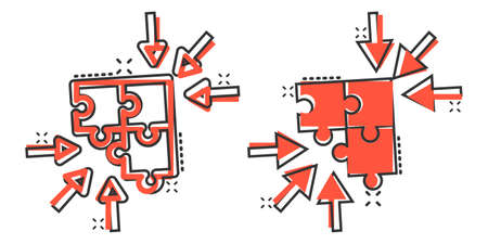 Puzzle jigsaw icon in comic style. Solution compatible cartoon vector illustration on white isolated background. Combination splash effect business concept.
