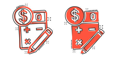 Tax payment icon in comic style. Budget invoice cartoon vector illustration on white isolated background. Calculator with dollar coin and pencil splash effect business concept.