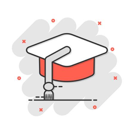 Cartoon education hat icon in comic style. Bachelor cap illustration pictogram. Education sign splash business concept.