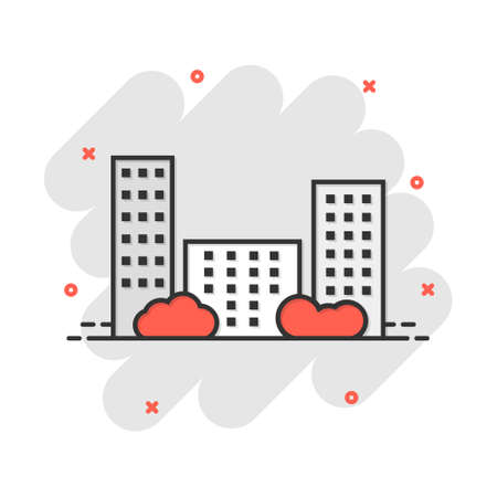 Cartoon city building icon in comic style. Town illustration pictogram. Apartment sign splash business concept.