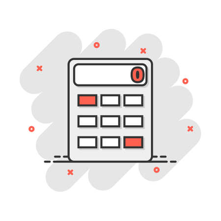 Cartoon calculator icon in comic style. Calculate illustration pictogram. Finance sign splash business concept.