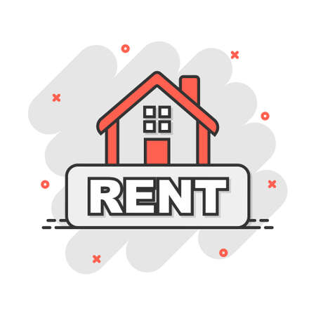 Cartoon rent house icon in comic style. Home illustration pictogram. Rental sign splash business concept.