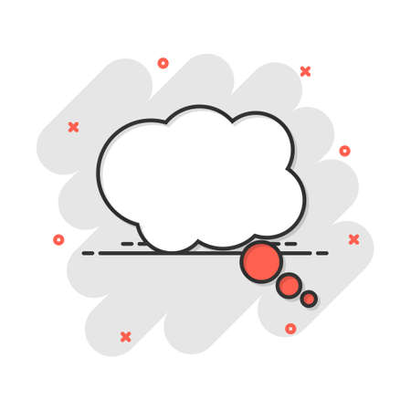 Cartoon thought bubble icon in comic style. Think sign illustration pictogram. Cloud splash business concept.