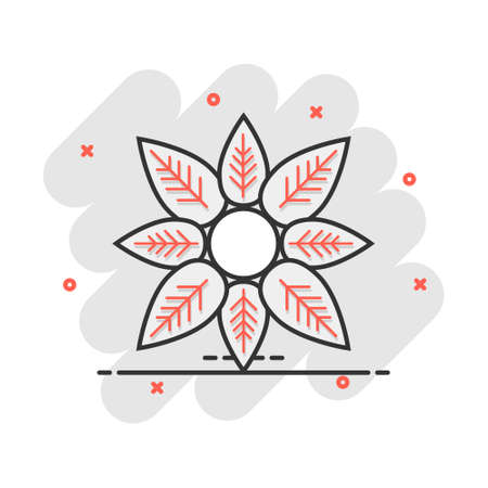 Cartoon flower icon in comic style. Petal illustration pictogram. Floral sign splash business concept.