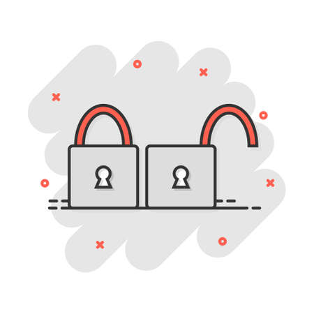Cartoon padlock icon in comic style. Lock, unlock illustration pictogram. Locker sign splash business concept. Vectores