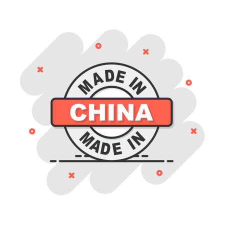 Cartoon made in China icon in comic style. Manufactured illustration pictogram. Produce sign splash business concept. Vectores