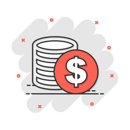 Cartoon money coins icon in comic style. Dollar coin sign illustration pictogram. Currency business concept.