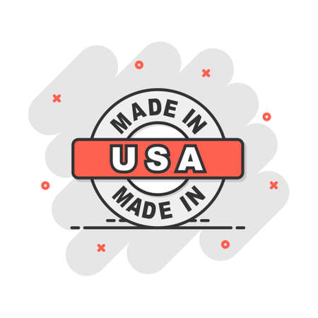 Cartoon made in USA icon in comic style. Manufactured illustration pictogram. Produce sign splash business concept. Vectores