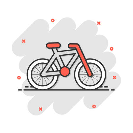 Cartoon bike icon in comic style. Bicycle sign illustration pictogram. Vehicle business concept.