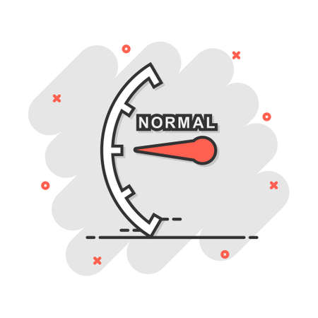 Cartoon normal level icon in comic style. Speedometer, tachometer sign illustration pictogram. Risk meter splash business concept.