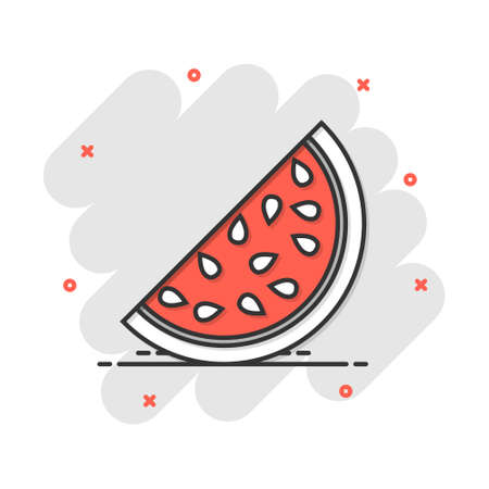 Cartoon watermelon icon in comic style. Juicy ripe fruit sign illustration pictogram. Dessert splash business concept. Vectores