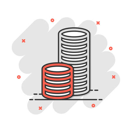 Cartoon money icon in comic style. Dollar finance sign illustration pictogram. Coin splash business concept.