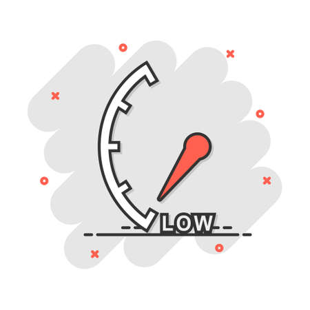 Cartoon low level icon in comic style. Speedometer, tachometer sign illustration pictogram. Risk meter splash business concept.