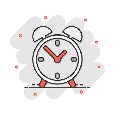 Cartoon alarm clock icon in comic style. Timer sign illustration pictogram. Stopwatch splash business concept.