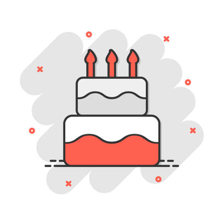 Cartoon birthday cake icon in comic style. Fresh pie muffin sign illustration pictogram. Cupcake business concept.