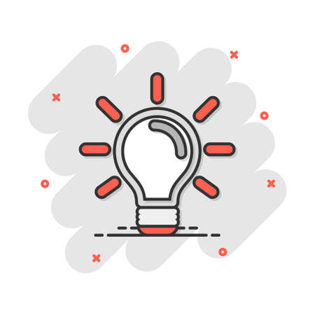 Cartoon light bulb icon in comic style. Idea sign illustration pictogram. Lightbulb business concept.