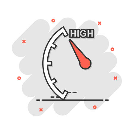 Cartoon high level icon in comic style. Speedometer, tachometer sign illustration pictogram. Risk meter splash business concept.