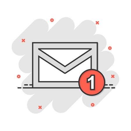 Vector cartoon email envelope message icon in comic style. Mail sign illustration pictogram. Envelope business splash effect concept.