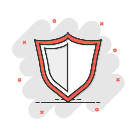 Vector cartoon shield protection icon in comic style. Protect sign illustration pictogram. Defence business splash effect concept.
