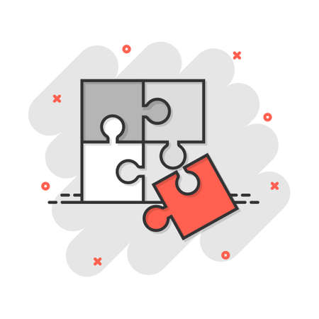 Cartoon puzzle icon in comic style. Jigsaw sign illustration pictogram. Toy game splash business concept.