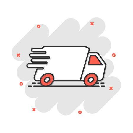Vector cartoon truck, car icon in comic style. Fast delivery service shipping sign illustration pictogram. Car van business splash effect concept.