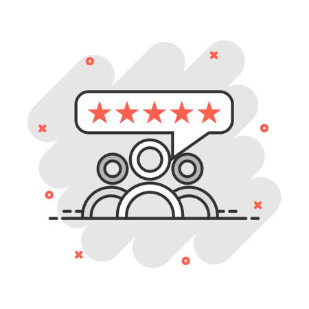 Vector cartoon customer reviews, user feedback icon in comic style. Rating sign illustration pictogram. Stars rating business splash effect concept. 矢量图像