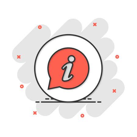 Vector cartoon information icon in comic style. Speech sign illustration pictogram. Information business splash effect concept. 矢量图像