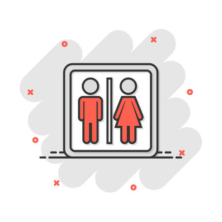 Vector cartoon man and woman icon in comic style. People sign illustration pictogram. WC toilet business splash effect concept. 矢量图像
